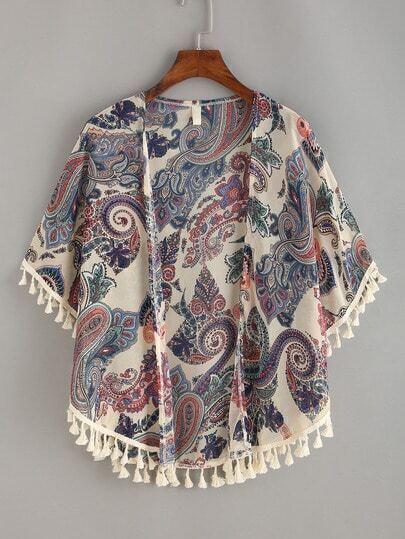 Paisley Print Tassel Trimmed Kimono