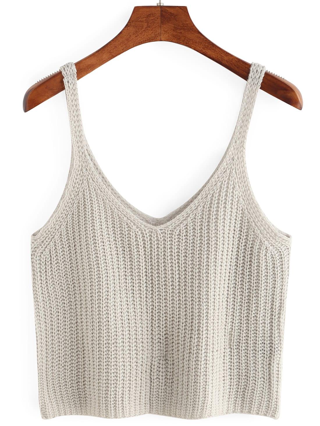 Knitted Crop Tank Top -SheIn(Sheinside)