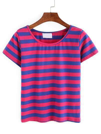 Red & Blue Wide Stripe T-shirt