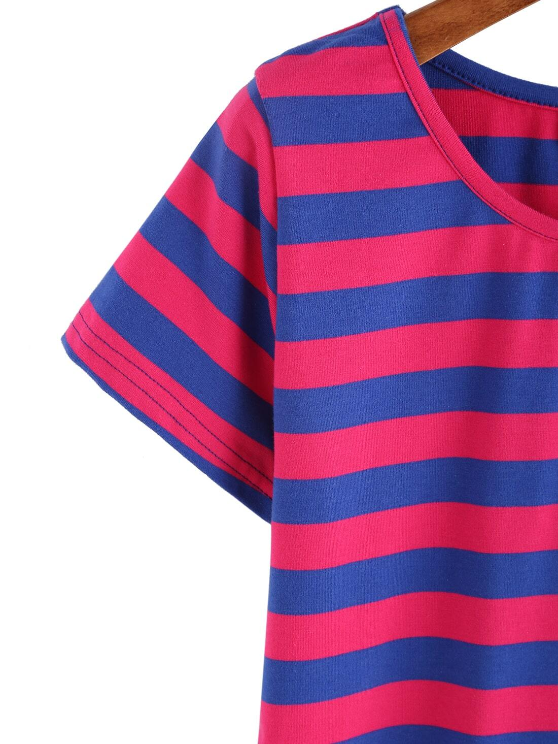Red blue wide stripe t shirt shein sheinside for Red blue striped shirt
