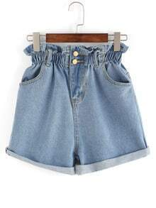 Ruffle Waist Rolled Hem Denim Shorts