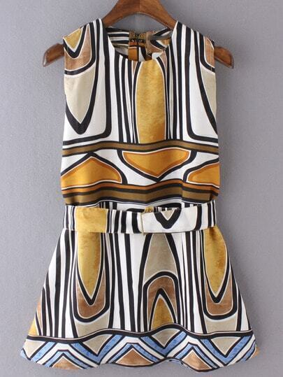 Geometric Print Fit&Flare Dress With Belt