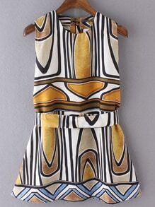 Multicolor Sleeveless Geometric Print Dress With Belt