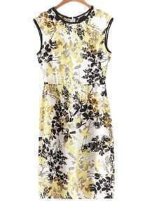 Yellow Sleeveless Contrast Piping Zipper Back Printed Dress