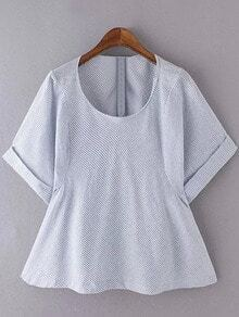 Blue White Stripe Roll Cuff Short Sleeve Blouse