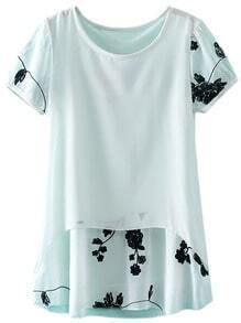 White Short Sleeve Contrast Embroidery Chiffon Blouse