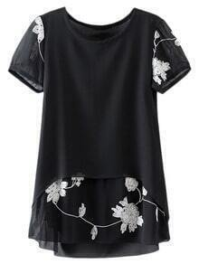 Black Short Sleeve Contrast Embroidery Chiffon Blouse