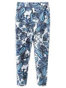 Multicolor Elastic Waist Pockets Totem Print Pants