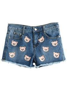 Blue Pockets Fringe Bear Print Denim Shorts