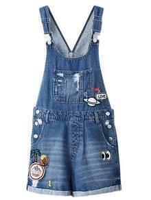 Blue Pockets Sequined Embroidery Denim Straps Romper