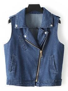 Blue Sleeveless Lapel Pockets Oblique Zipper Denim Jacket