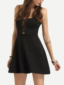 Hollow Out Crisscross Cami Dress - Black