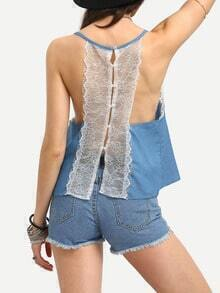 Buttoned Lace Racerback Swing Cami Top