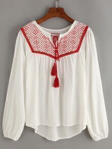 Embroidery Tassel-Tie Neck Peasant Blouse - White