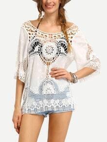 Hollow Out Crochet Insert Blouse