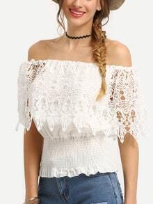 Lace Trim Off-The-Shoulder Shirred Hem Blouse