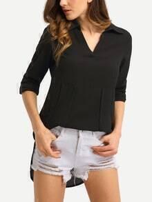 Dual Pocket Curved Hem Chiffon Blouse - Black