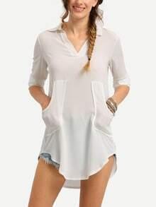 Dual Pocket Curved Hem Chiffon Blouse - White