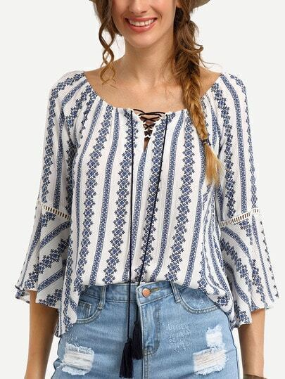 Tribal Print Tassel-Tie Neck Bell Sleeve Blouse