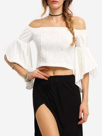 Off-The-Shoulder Fringe Bell Sleeve Lace Blouse