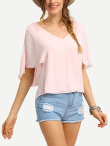 Pom Pom Trimmed Layered Cutout Blouse
