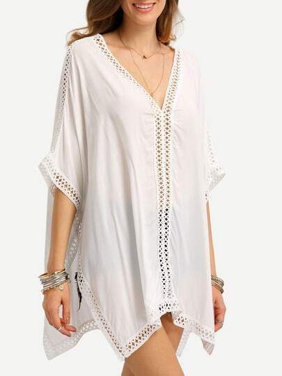 Hollow Out Crochet Trimmed Poncho Blouse