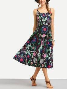 Flower Print A-Line Cami Dress