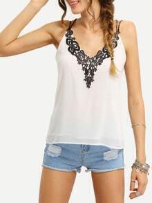 Contrast Lace Neck Crisscross Cami Top - White