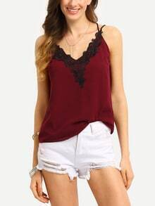 Contrast Lace Neck Crisscross Cami Top - Burgundy