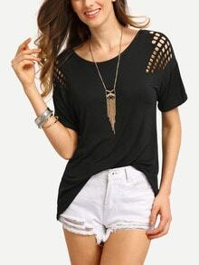 Hollow Out Laser-Cut Shoulder T-shirt