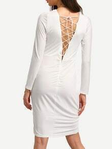 Lace-Up Back Shirred Long Sleeve Dress - White