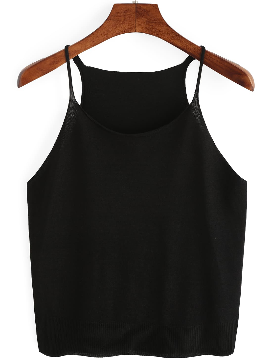 Black Knitted Cami TopBlack Knitted Cami Top<br><br>color: Black<br>size: one-size