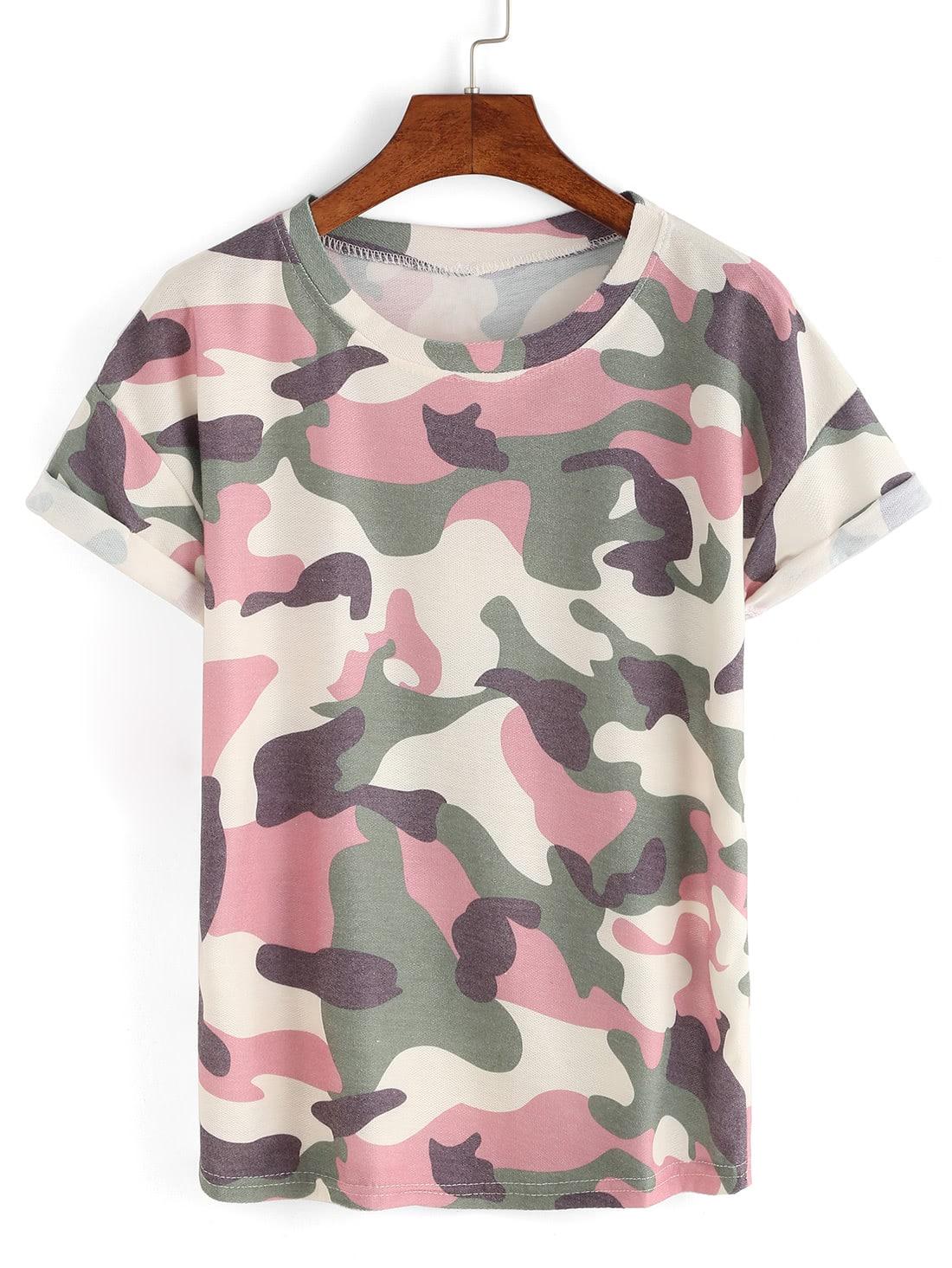 Rolled Sleeve Camouflage T Shirt Shein Sheinside