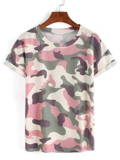 Camiseta de camuflaje con manga enrollada -rosado