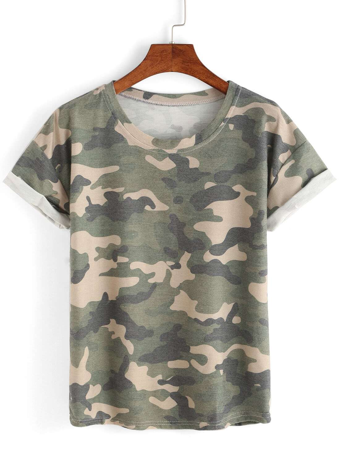 Rolled sleeve camouflage t shirt shein sheinside for Camouflage t shirt printing