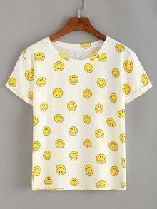 Emoticons Print Rolled Sleeve T-shirt