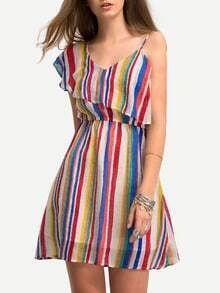 Multicolor Vertical Striped One Shoulder Ruffle Dress