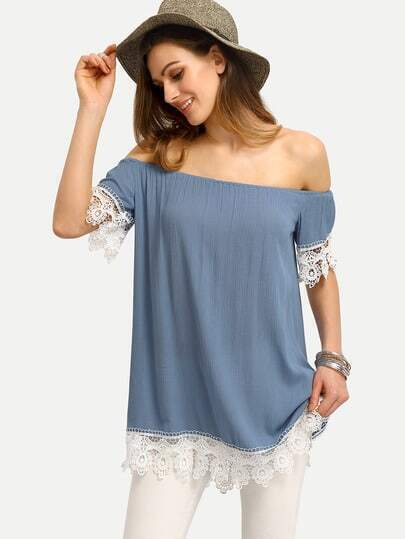 Light Blue Off The Shoulder Patchwork Lace Blouse