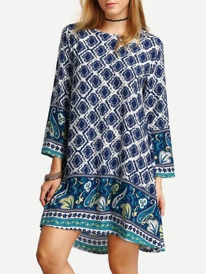 robe motif vintage manche longue -marine