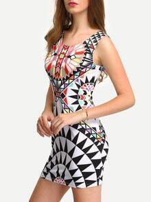 Multicolor Sleeveless Print Bodycon Dress