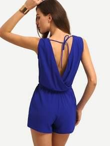 Blue Sleeveless Tie V Back Jumpsuit