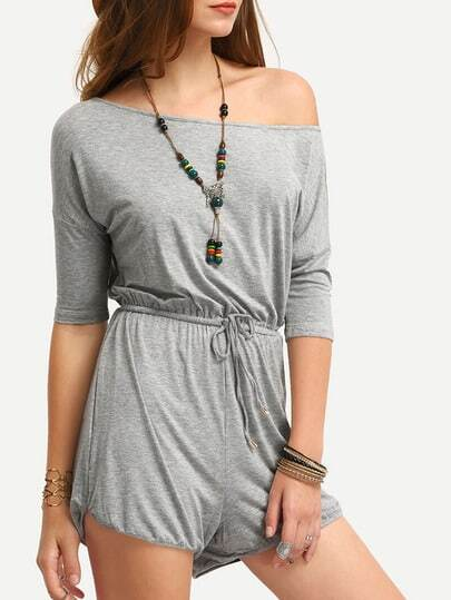 Grey Off The Shoulder Self-tie Waist Romper