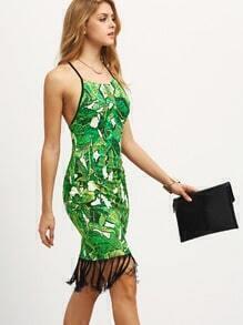 Multicolor Print Fringe Hem Bodycon Dress