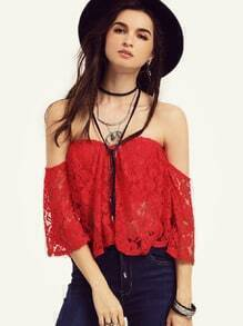 Red Off The Shoulder Lace Overall Blouse