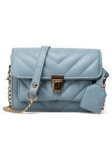 Chevron Quilted Flap Bag - Light Blue