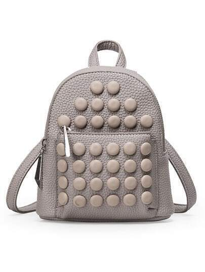 Embossed Faux Leather Studded Backpack - Light Grey