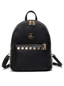 Embossed Faux Leather Studded Backpack