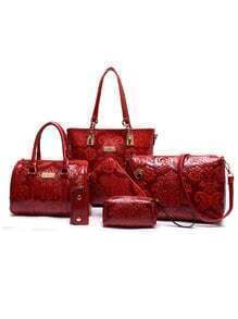 Flower Embossed Faux Leather 6PCS Bag Set