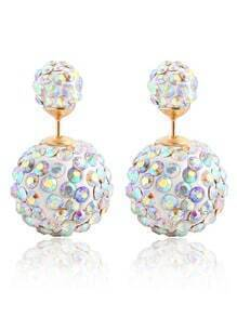 Rhinestone Ball Double Sided Stud Earrings - White