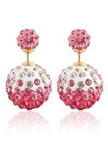 Rhinestone Ball Double Sided Stud Earrings - Pink